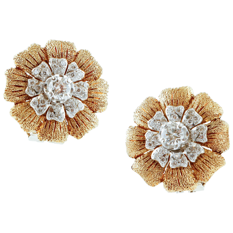 White Diamonds, 18 Karat Yellow and White Gold Clip-On Retrò Earrings