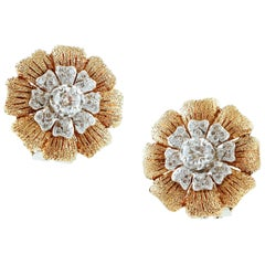 White Diamonds, 18 Karat Yellow and White Gold Clip-On Retrò Earrings