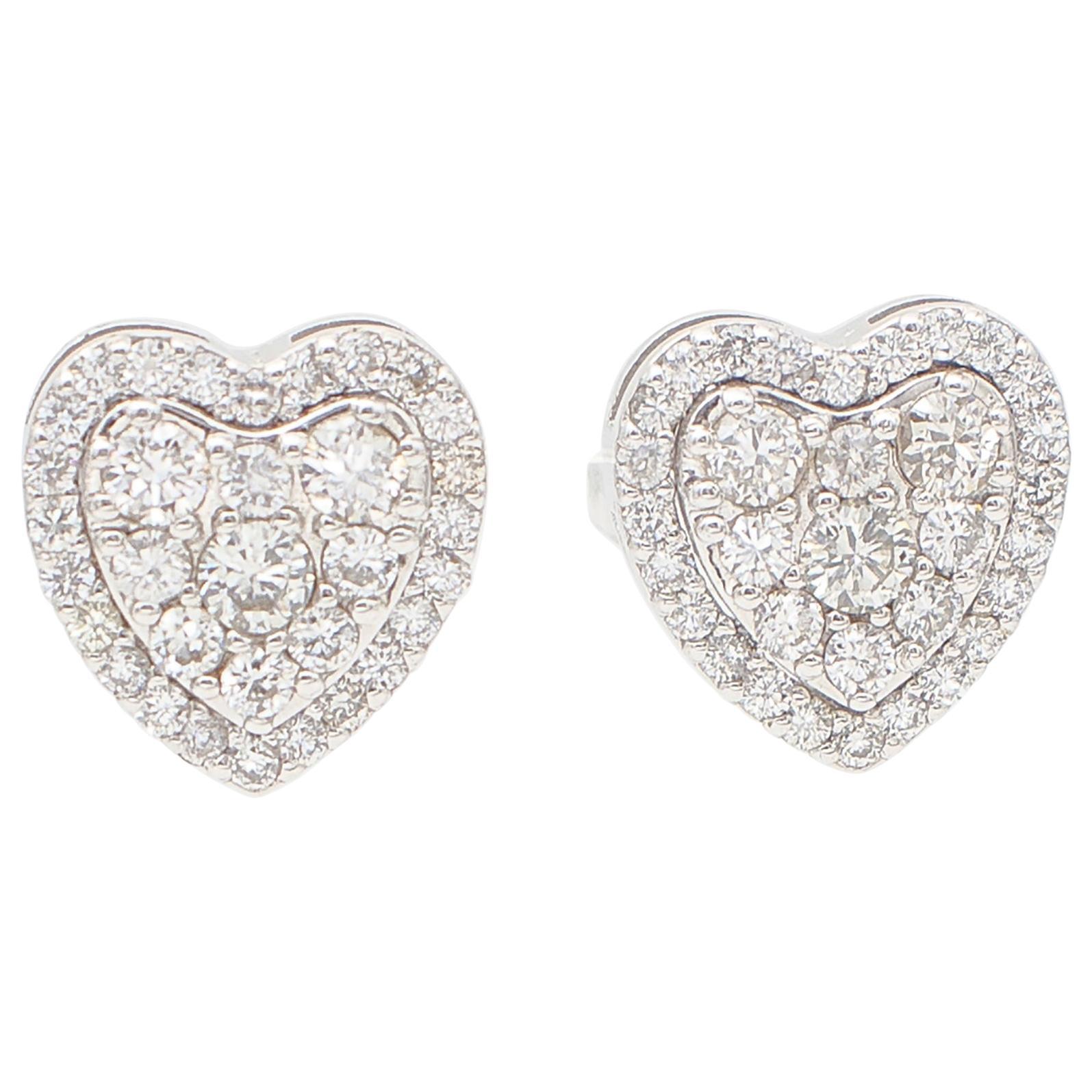 White Diamonds, 18kt White Gold Heart Shape Stud Earrings