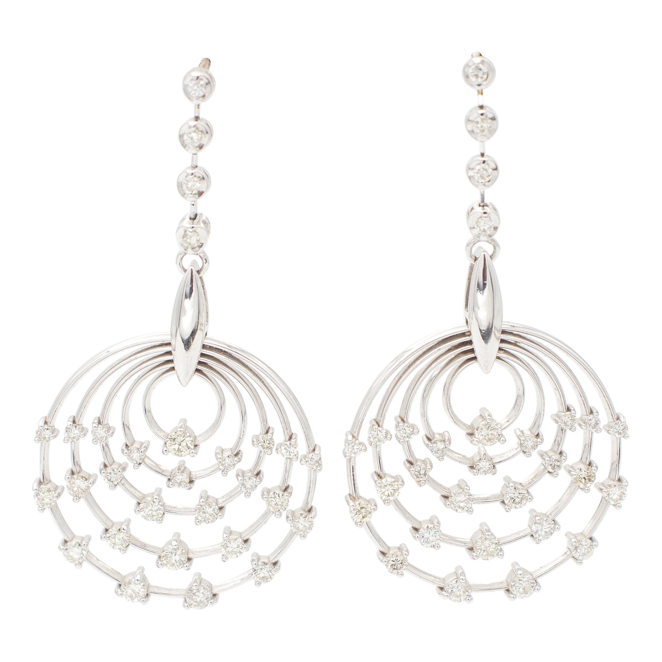 White Diamonds, 18kt White Gold Hoop/Dangle Earrings