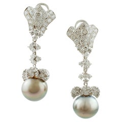 White Diamonds, 40 Carat South Sea Pearls, 18 Karat Gold Clip-On/Drop Earrings