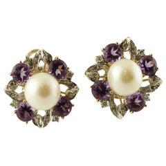 White Diamonds, Amethyst, South-Sea Pearls, 14k Rose/White Gold Clip-On Earrings