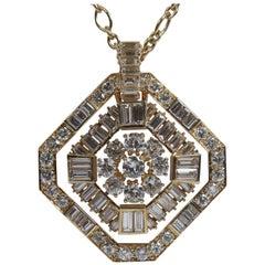 Weißer Diamant und 18 Karat Gelbgold Anhänger von Marion Jeantet