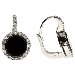 White Diamonds and Onyx Earrings