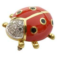 White Diamonds and Red Enamel Gold Ladybug Brooch Made in Italy