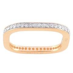 White Diamonds and Rose Gold 18 Karat Fashion Square Ring
