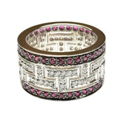 White Diamonds and Rubies Gold Band Ring Made in Italy