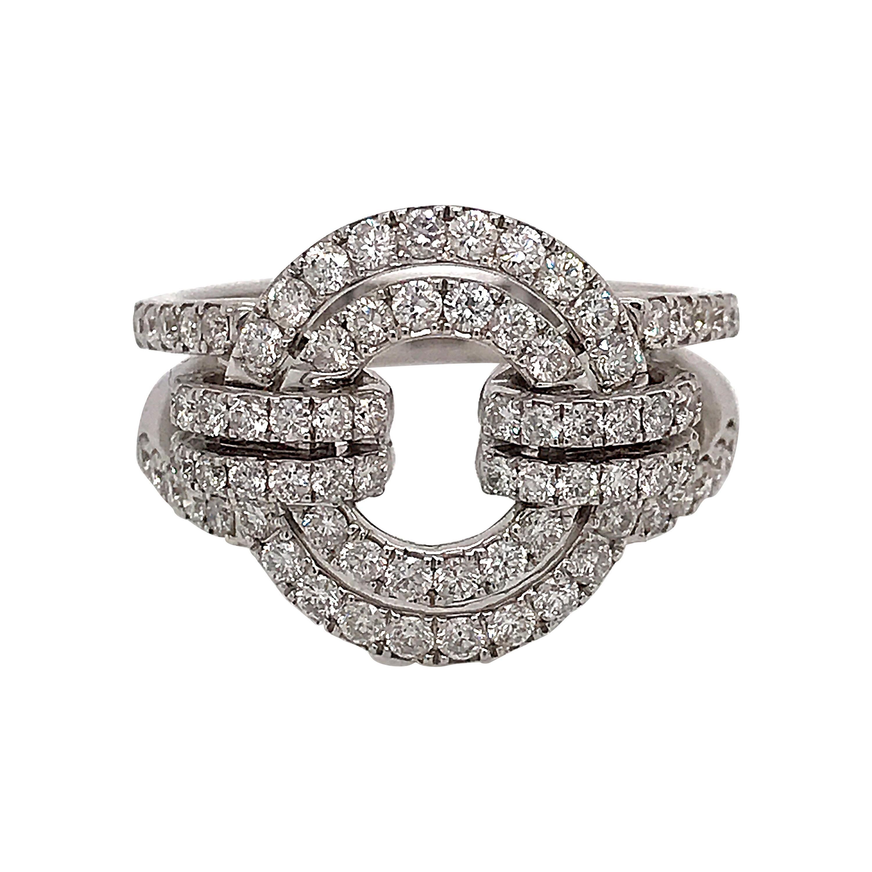 White Diamonds and White Gold 18 Karat Articulated Circle Ring