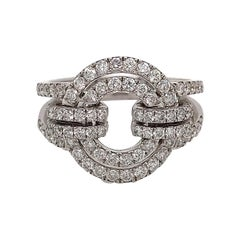 White Diamonds and White Gold 18 Karat Articulated Circle Ring