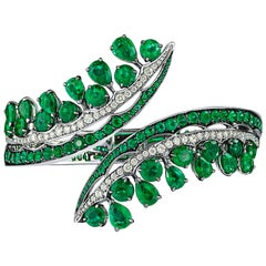 Ethically Sourced Emeralds Bracelet, in 18K White Gold and White Diamonds