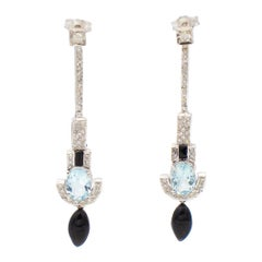 White Diamonds, Aquamarine, Onyx, White Gold Dangle/Drop Earrings