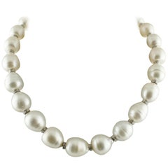 White Diamonds Australian Baroque White Pearls White Gold Beaded Necklace