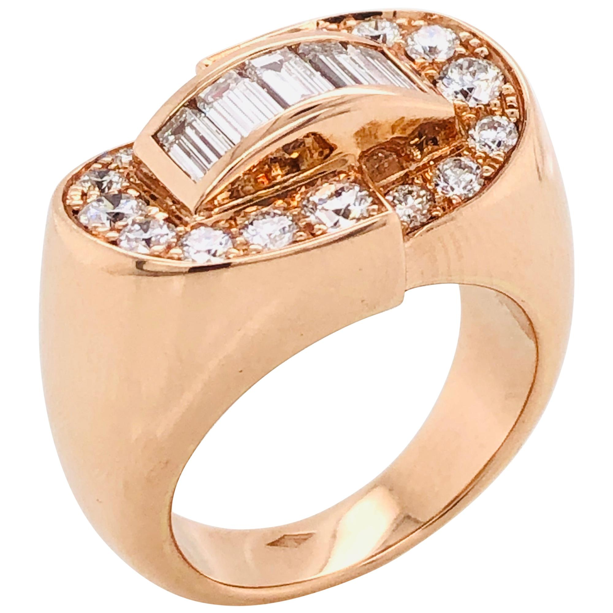 White Diamonds Baguette Cut and Brilliant Cut on Rose Gold 18 Karat Fashion Ring