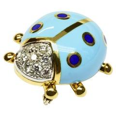 White Diamonds Blue Enamel Gold Ladybug Brooch Made in Italy