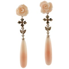 White and Blue Fancy Diamonds, Pink Flowers/Drops Coral,White Gold Drop Earrings
