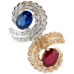 White Diamonds, Blue Sapphire, Ruby, Rose and White Gold Contrariè Ring