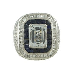 White Diamonds, Blue Sapphires, Aquamarine White Gold Ring
