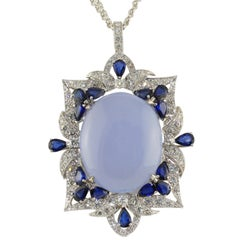 White Diamonds Blue Sapphires Chalcedony White Gold Pendant Necklace
