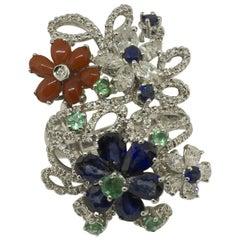 White Diamonds Blue Sapphires Emeralds Corals White Gold Fashion Ring