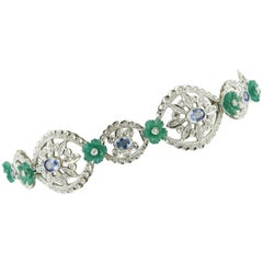White Diamonds Blue Sapphires Green Agate Flowers White Gold Link Bracelet