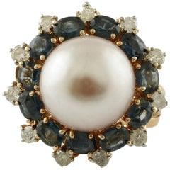 Weiße Diamanten, blauen Saphiren Licht lila Perle Rose Gold und Silber Ring