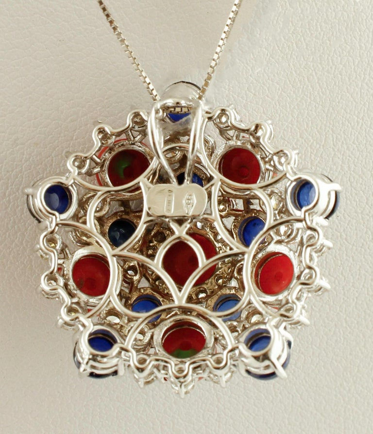 Retro White Diamonds, Blue Sapphires, Red Coral, White Gold Pendant Necklace For Sale