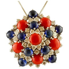 White Diamonds, Blue Sapphires, Red Coral, White Gold Pendant Necklace