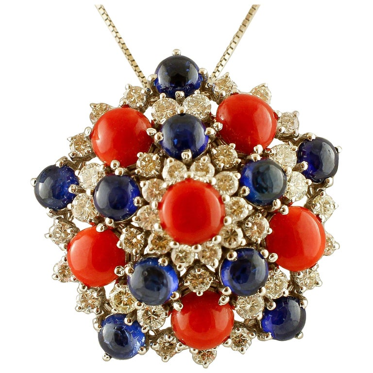 White Diamonds, Blue Sapphires, Red Coral, White Gold Pendant Necklace For Sale