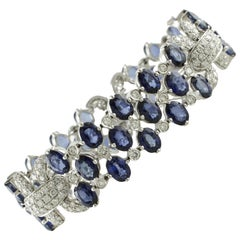 White Diamonds Blue Sapphires White Gold Link Bracelet