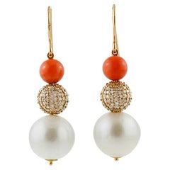 White Diamonds, Coral, South-Sea Pearls, 18 Karat Rose Gold Drop Retrò Earrings