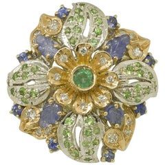 White Diamonds Emerald Blue Sapphires Tsavorites Rose and White Gold Flower Ring