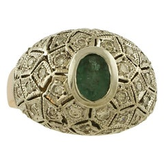 White Diamonds, Emerald Rose Gold and Silver Retrò Ring