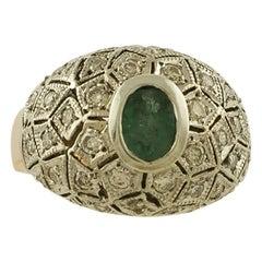 White Diamonds, Emerald Rose Gold and Silver Retrò Ring