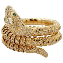 White Diamonds, Emeralds, 18 Karat Yellow Gold Snake Shape Retrò Bracelet