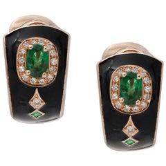 White Diamonds, Emeralds, Black Enamel, 14 Karat Rose Gold Clip-On Earrings