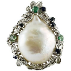 White Diamonds Emeralds Blue Sapphires Baroque Pearl White Gold Cocktail Ring