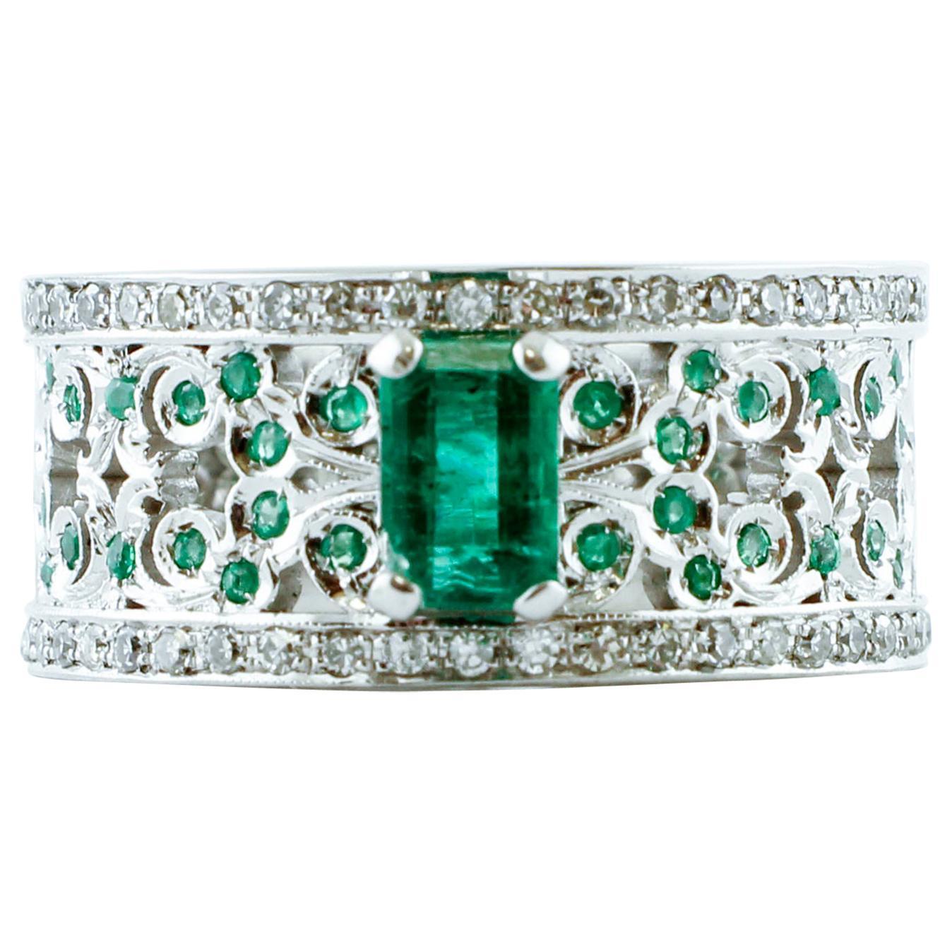White Diamonds, Emeralds, White Gold Fashion Band Ring