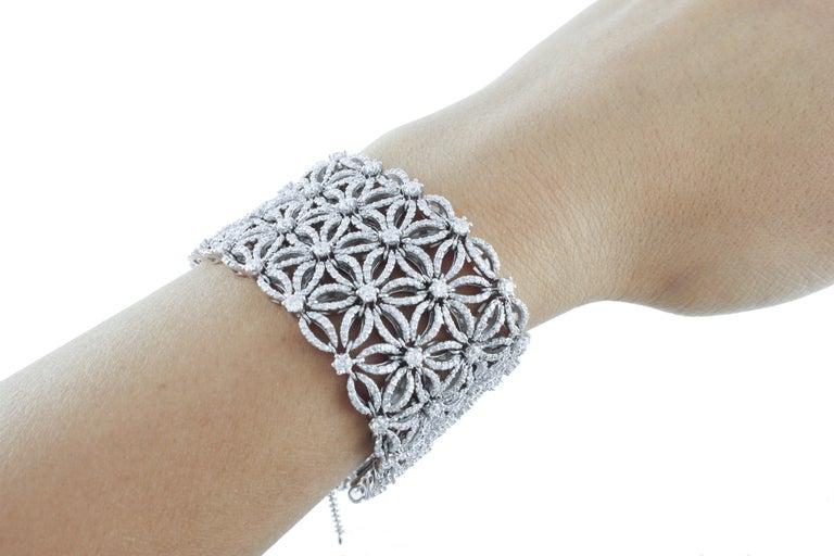 White Diamonds Flower Theme White Gold Carpet Bracelet For Sale 2