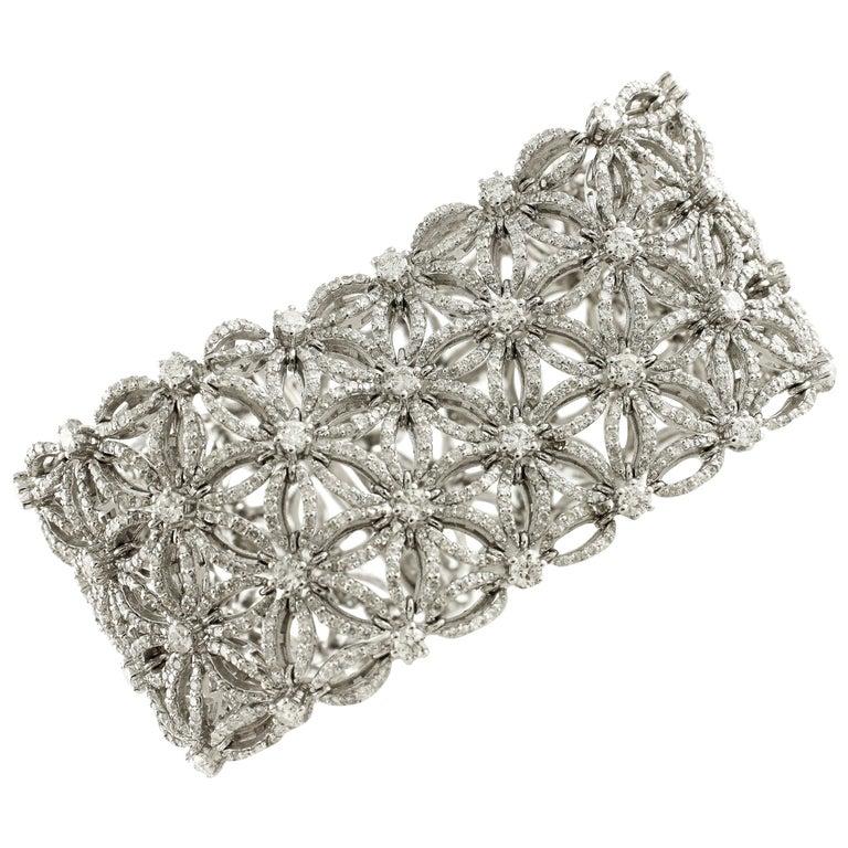 White Diamonds Flower Theme White Gold Carpet Bracelet For Sale