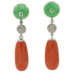 White Diamonds, Green Agte, Coral Drops, 14K White and Rose Gold Drop Earrings