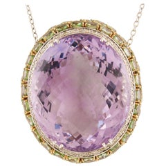 White Diamonds Green Sapphires Amethyst White Gold Pendant Necklace