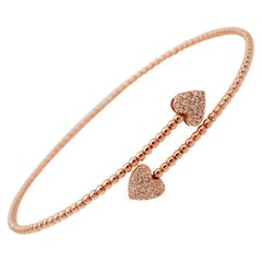 White Diamonds, Heart Detailes, 18kt Rose Gold Cuff/Modern Bracelet