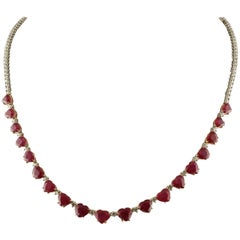 White Diamonds Heart Shape Rubies White and Rose Gold Tennis Necklace