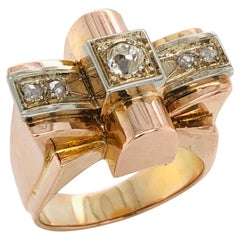 White Diamonds Old Cut on Rose and White Gold 18k Old Ring circa 1950s Art Deco