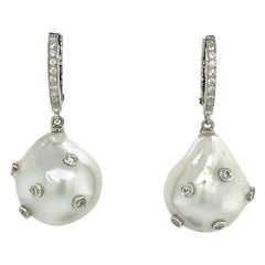White Diamonds on Baroque South Sea Pearl with White Gold 18 Karat Drop Earring