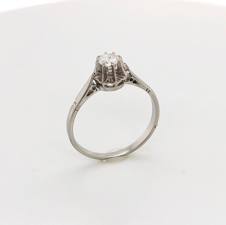 Retro White Diamonds on White Gold Old Ring For Sale