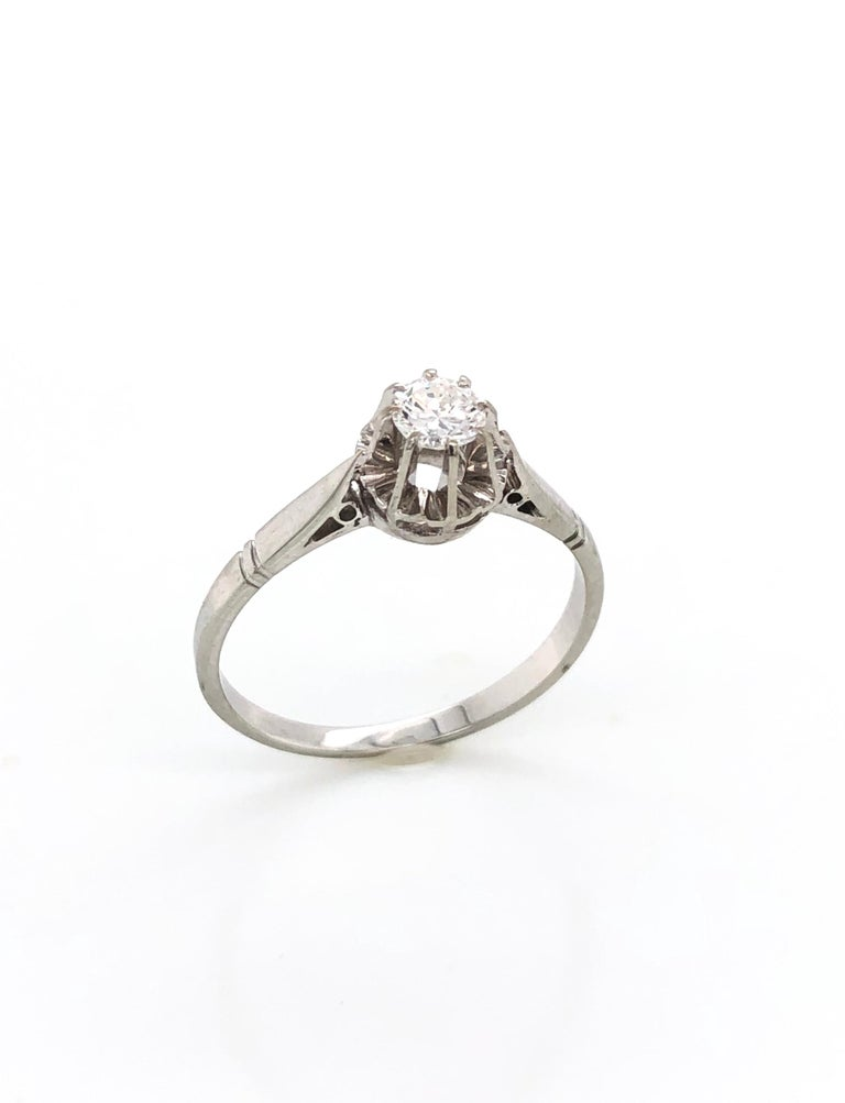 Brilliant Cut White Diamonds on White Gold Old Ring For Sale