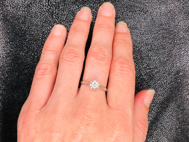 White Diamonds on White Gold Old Ring In Excellent Condition For Sale In Vannes, FR