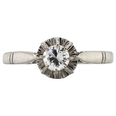 White Diamonds on White Gold Old Ring
