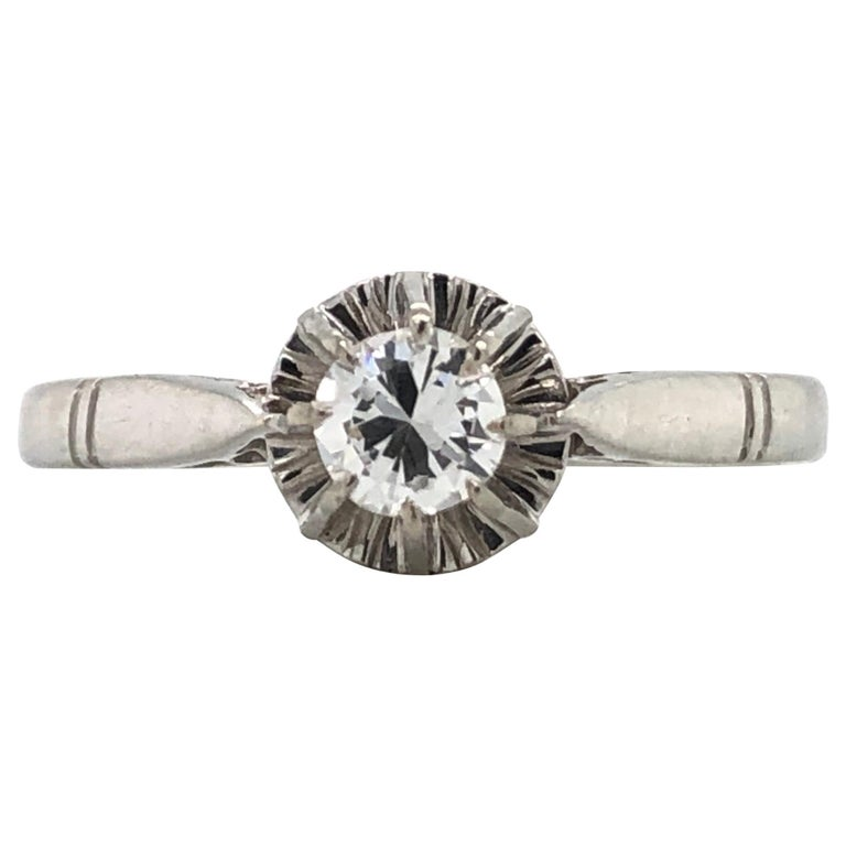 White Diamonds on White Gold Old Ring For Sale